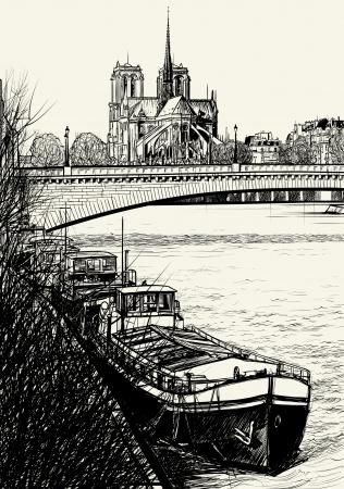 Vector illustration of Paris- Seine River with barges - Ile de la Cite and Notre-Dame (hand drawing)