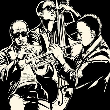 Illustrazione vettoriale di una band jazz con la tromba e contrabbasso Vettoriali