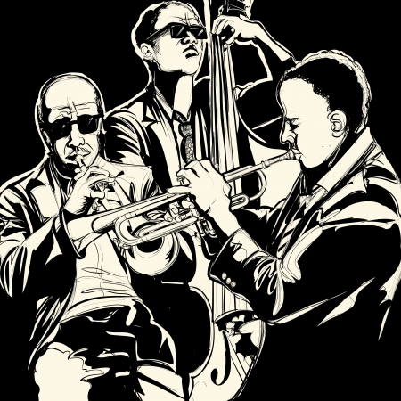 trumpet vector: Vector illustration of a jazz band with  trumpet and double bass