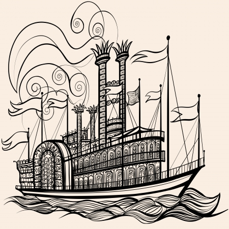 Vector illustration of an old steamboat Illustration