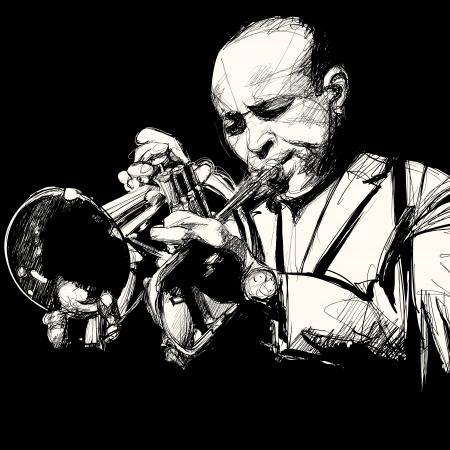 Vector illustratie van een trompettist Stockfoto - 22936484