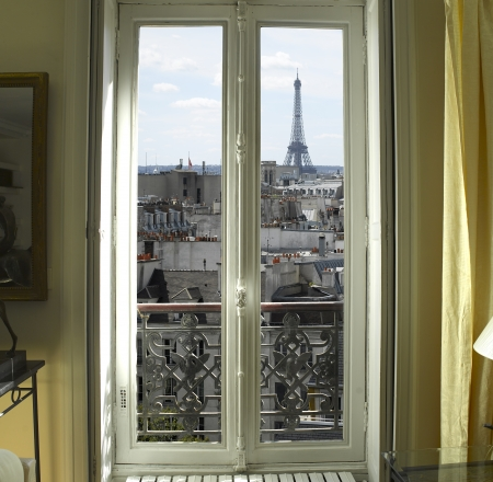 Eiffel: France - Paris - Window with Eiffel tower and roofs view