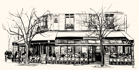 Vector illustration of an old cafe in Paris