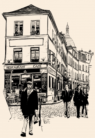 sidewalk cafe: Vector illustration of a view of Montmartre in Paris