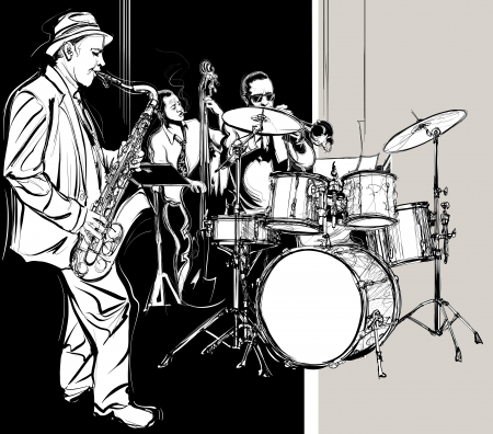 band: Vector illustration of a Jazz band