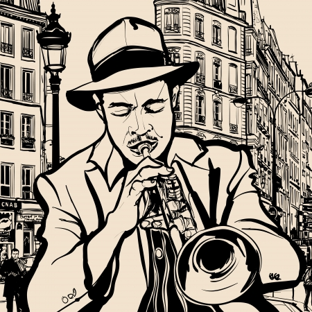 trumpeter: Illustration of a trumpet player on a  cityscape of Paris background