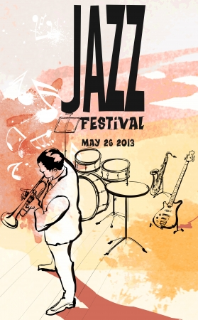 concert poster: Vector illustration of a Jazz poster with trumpeter Illustration