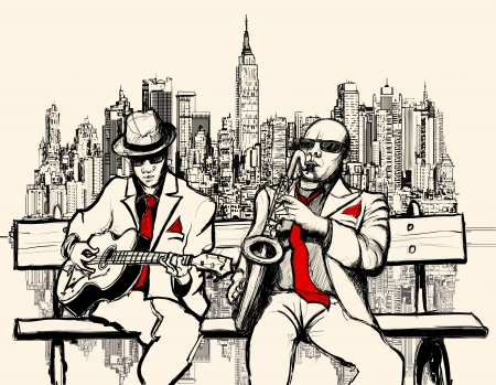 saxofon: Ilustración vectorial de dos hombres de jazz tocando en Nueva York - saxofón y guitarra