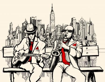 Vector un'illustrazione di due uomini di jazz che giocano a New York - sassofono e chitarra