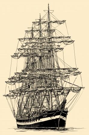 Vector illustratie van een zeilboot