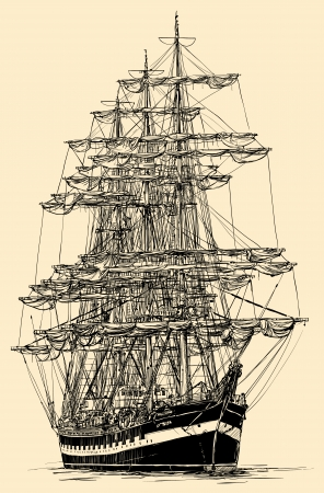 brigantine: Vector illustration of a sailing boat