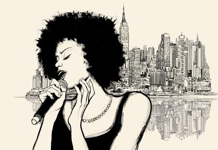 Vector illustration d'un chanteur de jazz afro-américain sur fond paysage urbain Banque d'images - 24041824