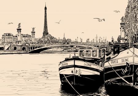 mouettes: Vector illustration d'une vue de la Seine � Paris, avec des barges et tour eiffel Illustration