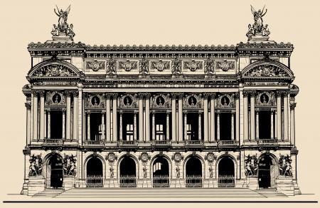 Illustrazione vettoriale di Opera Garnier di Parigi