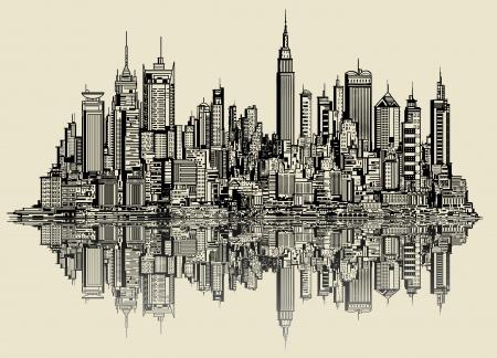 nowy: Ilustracji wektorowych szkic Nowy Jork (fikcyjne) Ilustracja