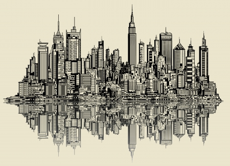 new york skyline: Vector illustration of a sketch of new york (fictitious)