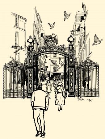 montmartre: illustration of a street near Montmartre in Paris