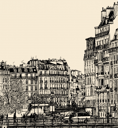 vector illustration - view of Ile Saint Louis in Paris Vector