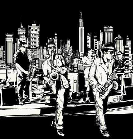 музыка: Векторная иллюстрация та джаз-оркестра, играющего в Нью-Йорке - саксофон певец и клавиатуры