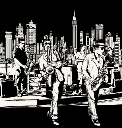 soul music: Vector illustration of ta jazz band playing in New York - saxophone singer and keyboard