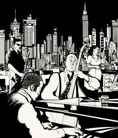 ilustración de una banda tocando jazz en Nueva York Ilustración de vector