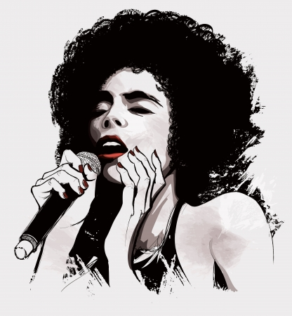 singer with microphone: Vector illustration of an afro american jazz singer Illustration