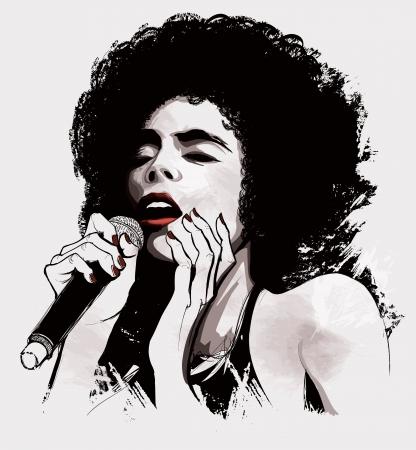 Vektor-Illustration eines Afro-amerikanische Jazz-Sängerin Vektorgrafik