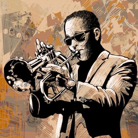 trompeta: Ilustraci�n vectorial de un trompetista Vectores