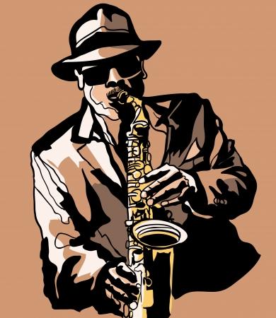 saxophonist: Vector illustration - Saxophone player