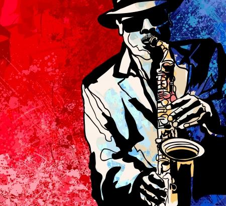Vector illustration d'un joueur de saxophone jazz