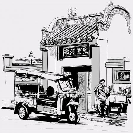 tempels: Vector illustratie-Tuk tuk chauffeur eten aan de deur van een Chinese tempel in Bangkok