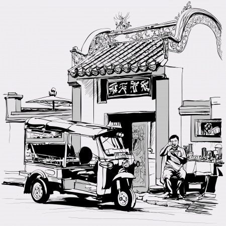Vector illustration -Tuk tuk driver eating at the door of a chinese temple in Bangkok Vector