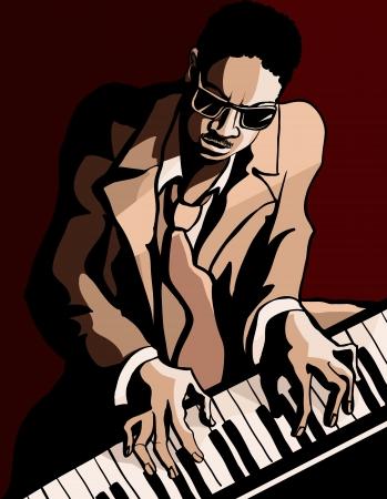 pianista: Ilustración vectorial de un pianista de jazz americano afro