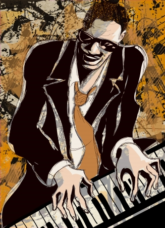 Vector Illustration of an afro american jazz pianist Vector