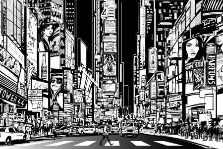 ilustração: Ilustração de uma rua na cidade de Nova York na noite