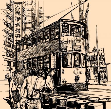 tramway: Illustrazione vettoriale di una strada a Hong Kong con un tram