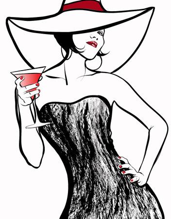 Vector illustration - Femme avec un chapeau de boire un cocktail