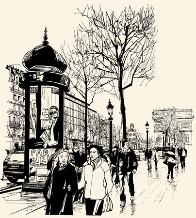 Vector illustration - Paris - avenue des champs-elysees Çizim