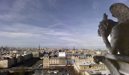 chimera: France - Paris - Notre Dame of Paris - Panoramic view with Chimera  Stock Photo
