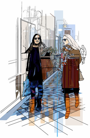 old couple walking: Vector illustration - France Paris - two women strolling in a passage Illustration