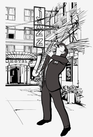 jazz club: Vector illustration of saxophone player in a street at night