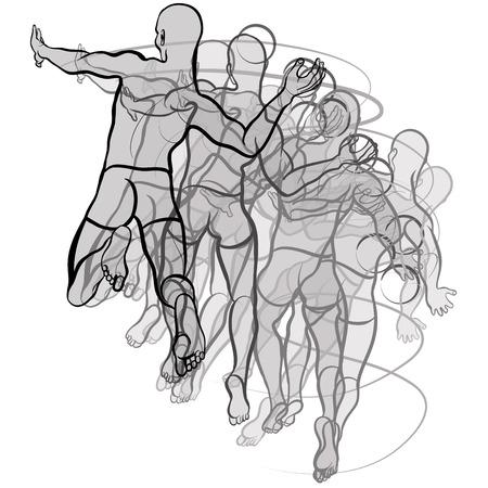 pallamano: Illustrazione vettoriale di pallamano giocatori illustrazione su sfondo bianco