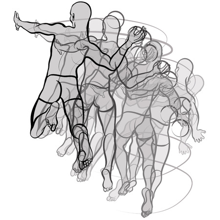 Vector illustration of handball players illustration on white background Ilustracja