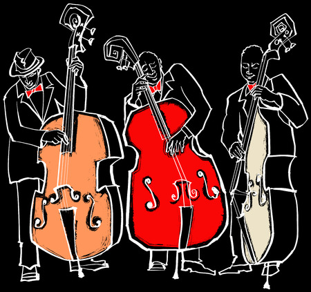 bass player: Vector illustration of a Jazz band