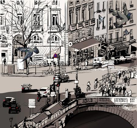 francia: Ilustración vectorial de una vista sobre Saint Michel puente en París Vectores