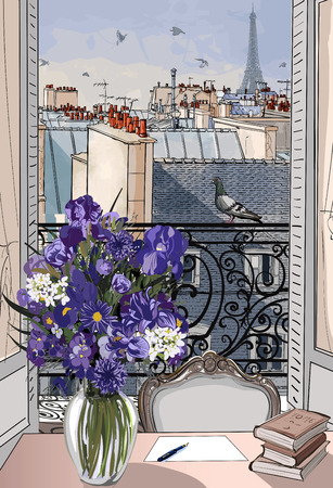 balcony window: Vector illustration - open window on the roofs of Paris Illustration