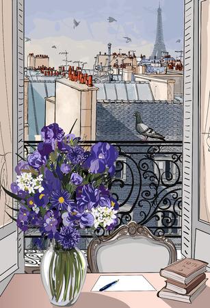 torre: Vector ilustración - ventana abierta sobre los tejados de París