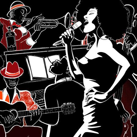 pianista: Ilustración vectorial de una banda de jazz con contrabajo - trompeta piano