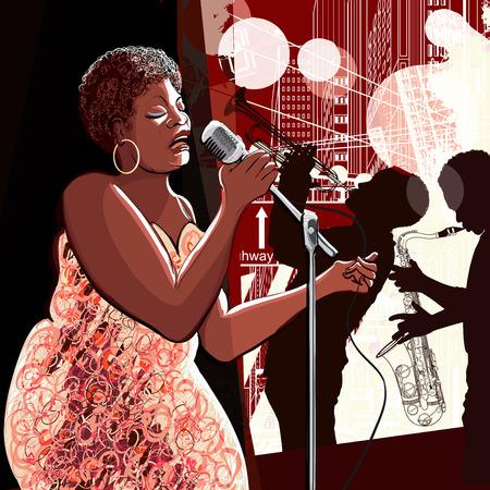 illustration of singer on grunge background Stock fotó - 29453056