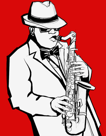 Jazz music saxophonist on a red background - Vector illustration Vector